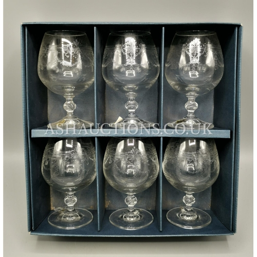 51 - ETCHED CRYSTAL GLASSES (Boxed Set Of Six)...
