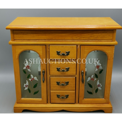 570 - JEWELLERY BOX With 4 DRAWERS & 2 CUPBOARDS...
