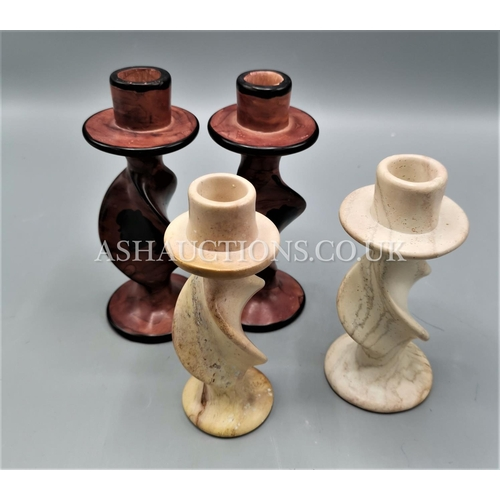 583 - SOAPSTONE CANDLE HOLDERS...