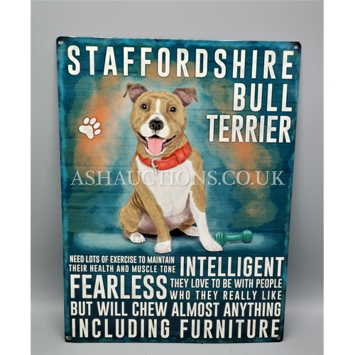 597 - TIN PLATE STAFFORDSHIRE BULL TERRIER PLAQUE...