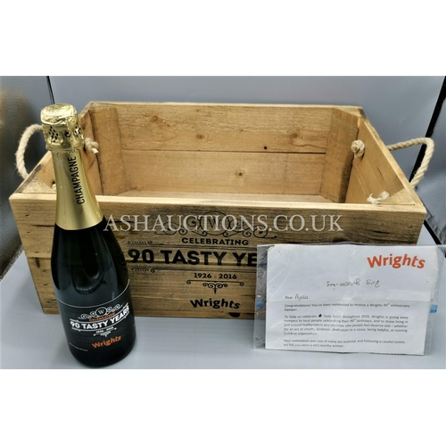 6 - WRIGHTS PIES 90TH ANNIVERSARY WOODEN HAMPER BOX, CHAMPAGNE & LETTER OF AUTHENTICITY. (Please Note th...