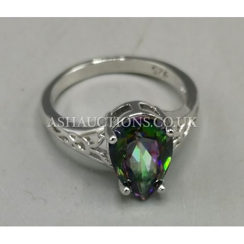 600 - PRESENTED AS A SILVER (925) STONE SET RING (Size Q)...