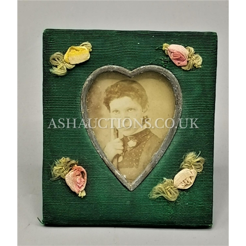 60H - VICTORIAN MATERIAL SWEETHEART FRAME With SILK FLOWERS...