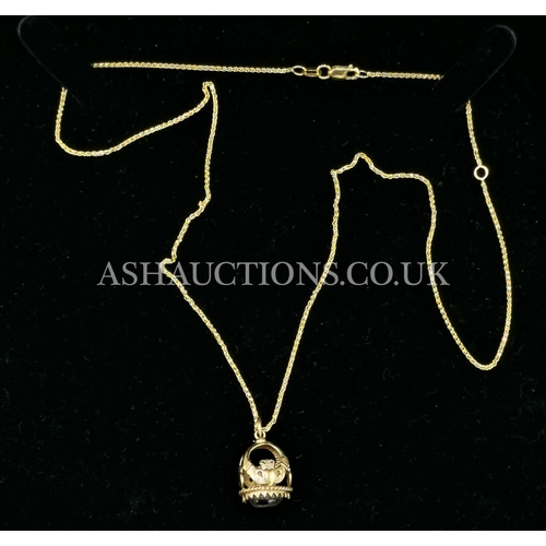 74 - PRESENTED AS A 9ct GOLD CLADDAH PENDANT (Fully Hallmarked) With RED CORNELIAN STONE On 9ct GOLD 46cm...