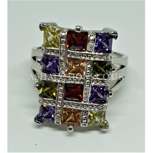 75A - PRESENTED AS A SILVER (Stamped 925) MULTICOLOURED STONE SET RING...
