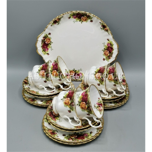 80 - ROYAL ALBERT CHINA TRIO'S (6) Plus BREAD/BUTTER PLATE IN THE OLD COUNTRY ROSES DESIGN...