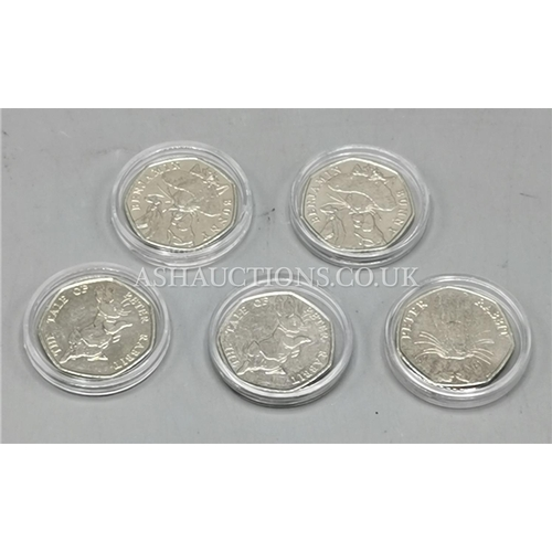 87 - SET OF FIVE COLLECTABLE BEATRIX POTTER 50 PENCE COINS  (All Cased)...