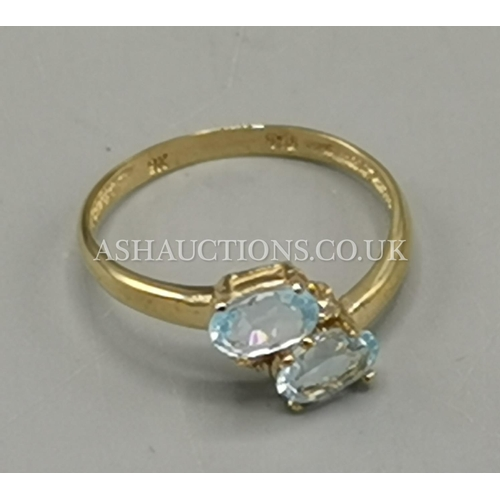 9 - PRESENTED AS A 9ct GOLD TWIN STONE AET SWISS BLUE TOPAZ & DIAMOND RING...