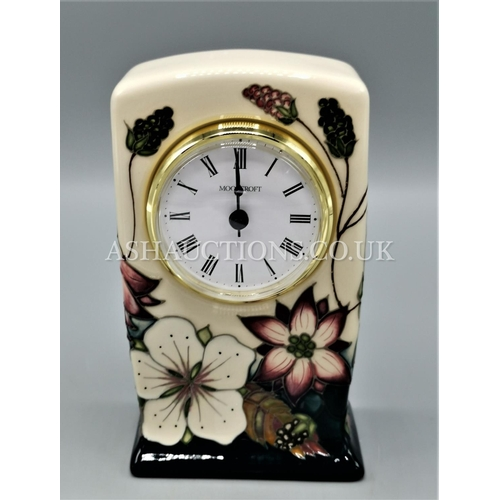 92 - MOORCROFT MANTLE CLOCK (Shape CL1) IN THE BRAMBLE REVISITED DESIGN By Designer By Alicia Amison. R.R...