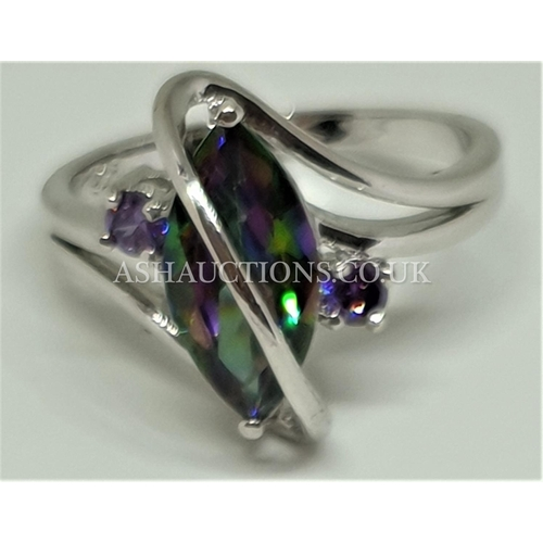 95A - PRESENTED AS A SILVER (925) STONE SET RING...