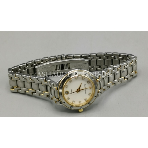 64 - PRESENTED AS A MAURICE LACROIX STAINLESS STEEL WRISTWATCH With CHAMPAGNE DIAL And DIAMOND NUMERALS...