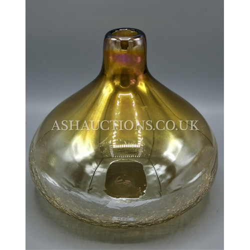 103 - AMBER LUSTRE ART GLASS BULBOUS VASE...