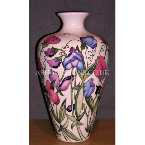 110 - MOORCROFT VASE IN THE SWEETNESS DESIGN By Designer Nicola Slaney.  (With their delightful wisps and ...