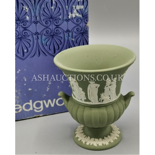 15 - WEDGWOOD Small GREEN JASPER WARE URN (Boxed)...
