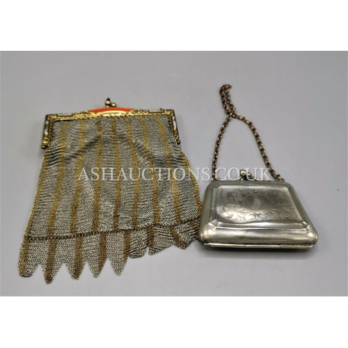 27 - GILT MESH ENAMEL ART DECO BAG c1930s TOGETHER WITH A METAL VICTORIAN PURSE...