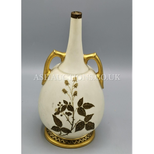 39 - ROYAL WORCESTER BLUSH IVORY TWIN HANDLED VASE...