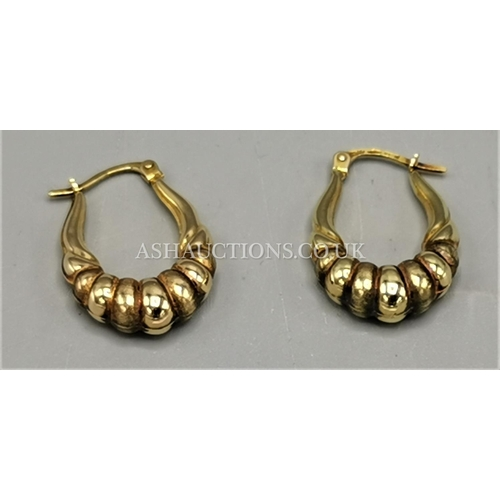 40A - PRESENTED AS A PAIR OF 9ct GOLD (375) EARRINGS (Weight 1.7 Grams)...
