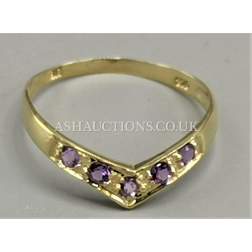 5 - PRESENTED AS A 9ct GOLD NATURAL AMETHYST STONE SET WISHBONE RING...