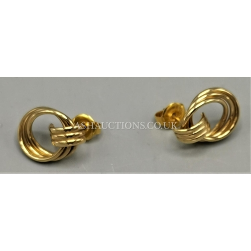 50A - PRESENTED AS A PAIR Of 9ct GOLD (375) SCROLL EARRINGS (Weight 1.6 Grams)...