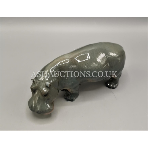 60 - BESWICK 8.9cm MODEL OF A HIPPOPOTAMUS Model No 1532  (Dark Grey With Pink Underneath,Gloss Colourway...