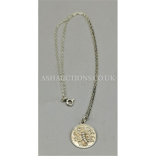 60H - PRESENTED AS A SILVER SCORPIO PENDANT On CHAIN (Signed Rembrant On Back)...