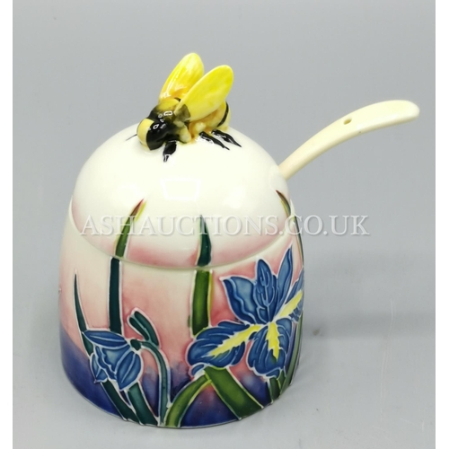 65A - OLD TUPTON WARE 7cm TUBELINED HONEY POT And SPOON (1363) IN THE IRIS FLOWER DESIGN...