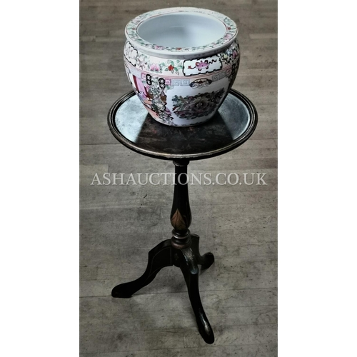 96 - CHINESE LAQUERED PAINTED TABLE TOGETHER WITH A CERAMIC CHINESE PLANTER  (Please Note This Lot WILL N...