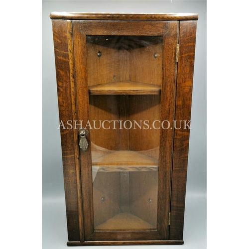 25 - OAK GLAZED CORNER CUPBOARD. (Please Note This Lot WILL NOT BE PACKED OR POSTED...PICK UP ONLY,AS IS ...