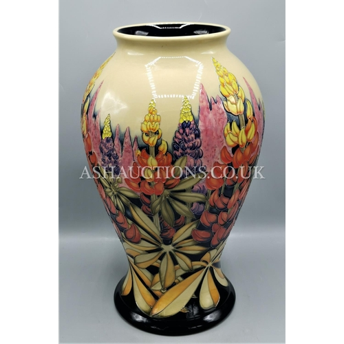 64 - MOORCROFT Extra Large H 40.00 x W 23.00 x D 23.00 cm LUPINS VASE Shape No 65/16) Designed And Signed...