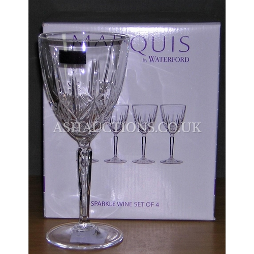 107 - WATERFORD CRYSTAL (Boxed Set Of Four) WINE GLASSES IN THE SPARKLE DESIGN...