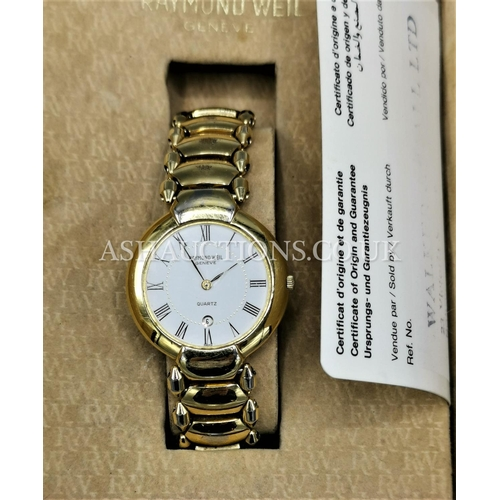 4 - PRESENTED AS A RAYMOND WEIL 18K ELECTROPLATED WATCH (Boxed) (Spares or Repairs)...