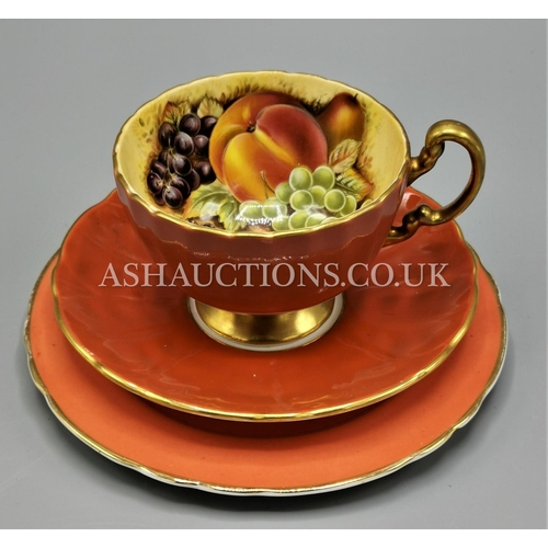 69 - AYNSLEY CHINA SALMON PINK TRIO IN THE ORCHARD GOLD DESIGN...