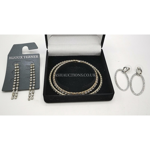 13 - SILVER TONE WITH WHITE STONE JEWELLERY Inc BRACELETS & EARRINGS (Drops & A loop)...