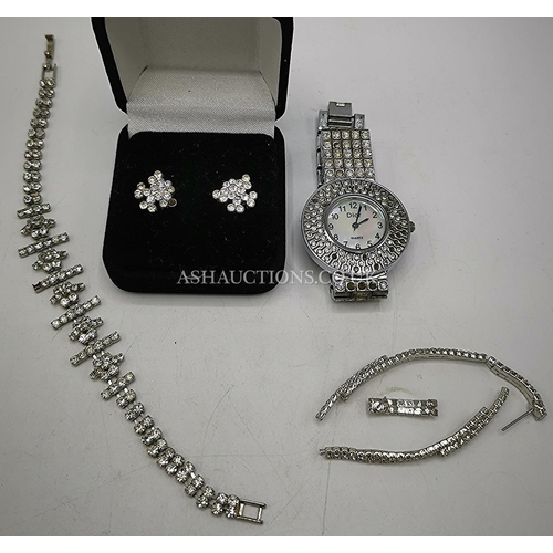 14 - SILVER TONE WITH WHITE STONE JEWELLERY Inc DIOR WATCH BRACELET & EARRINGS (Some Stones Missing But S...