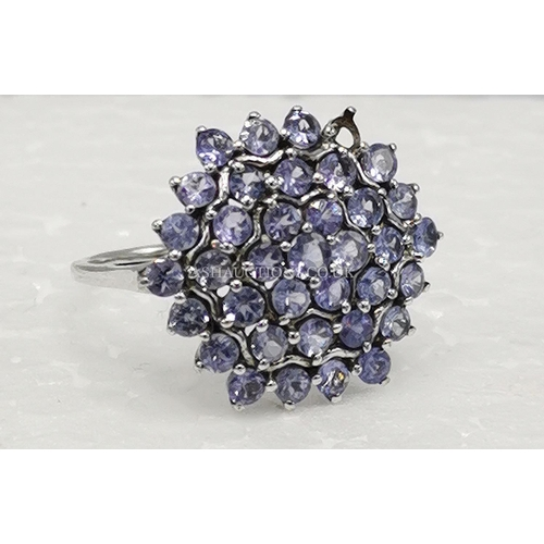 2 - PRESENTED AS A SILVER (Stamped 925) TANZANITE CLUSTER RING From COLOURED ROCKS (Original Box) (One S...