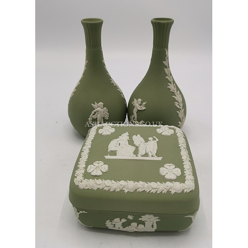 31 - WEDGWOOD GREEN JASPER WARE ITEMS (3)...