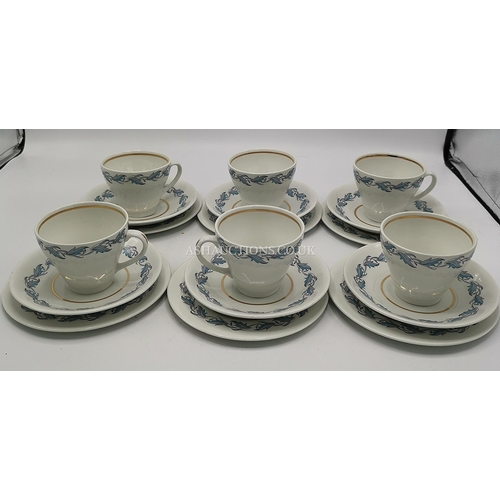 37 - SIMPSONS POTTERS Ltd (Cobridge ,Stoke On Trent) TRIOS (6) IN THE KENNSINGTON DESIGN (One Saucer Slig...