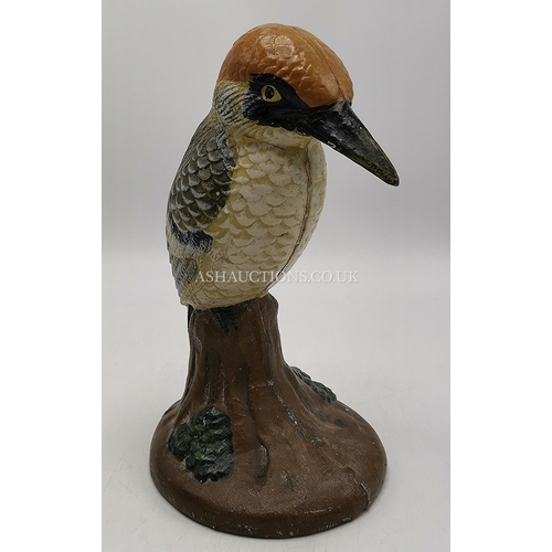 25 - CAST IRON Large 20cm MODEL/DOORSTOP OF A KINGFISHER...