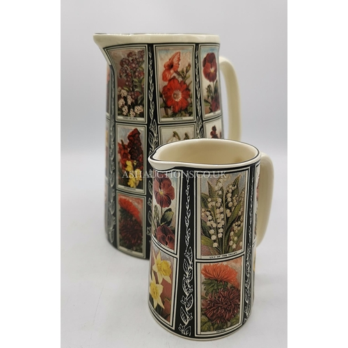 34 - AMBERGLADE (Derbyshire Hand Crafted) JUGS (2) IN THE COTTAGE GARDEN DESIGN...