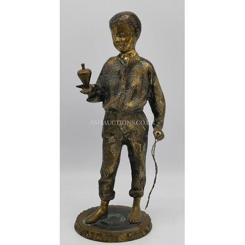 59 - BRONZE ?/METAL  Large 29cm SCULPTURE OF A BOY PLAYING WITH A SPINNING TOP (Please Note This LOT IS C...