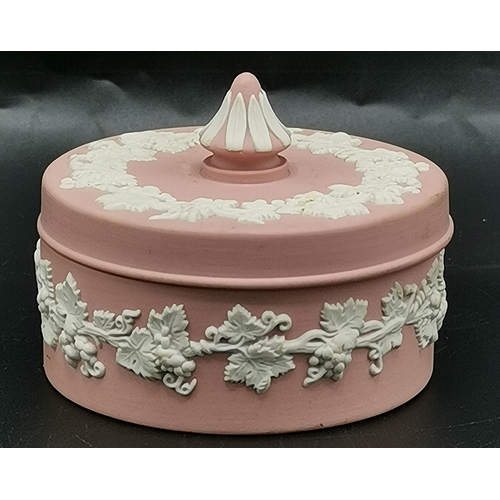 13 - WEDGWOOD PINK /WHITE JASPER WARE Small 7.5cm Dia LIDDED TRINKET BOX...