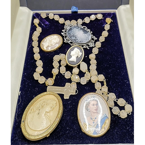 16 - VICTORIAN ROSEMARY BEADS TOGETHER WITH FIVE ASSORTED CAMEOS...