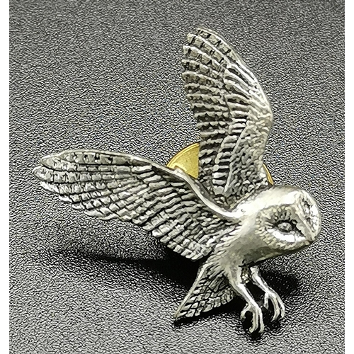 21 - A.R.BROWN PEWTER OWL PIN BROOCH...