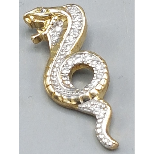 41 - PRESENTED AS A GOLD ON SILVER (925) SNAKE PENDANT  (Weight 6.7 Grams)...