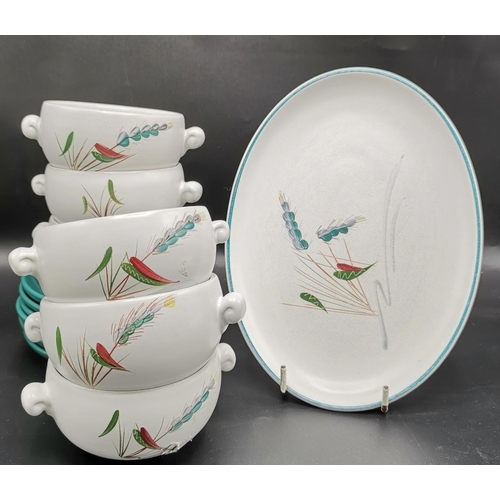 45 - DENBY OPEN SOUP CUPS (6) STANDS & OVAL DISH IN THE GREEN WHEAT DESIGN...