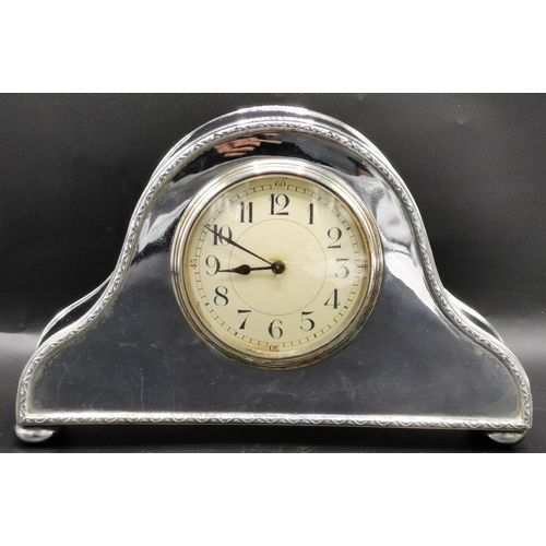 52 - CHROME MANTLE CLOCK, FRENCH MOVEMENT. (Working At Time Of Photograph, With Key)