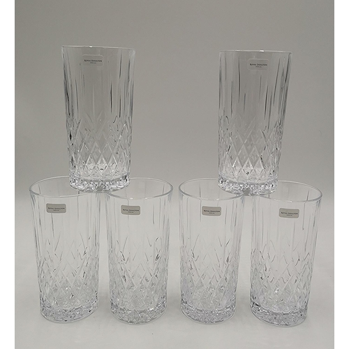 680 - ROYAL DOULTON CRYSTAL (Boxed Set Of Six) HI-BALL GLASSES IN THE EARLWOOD DESIGN (At Fault One Is Chi...