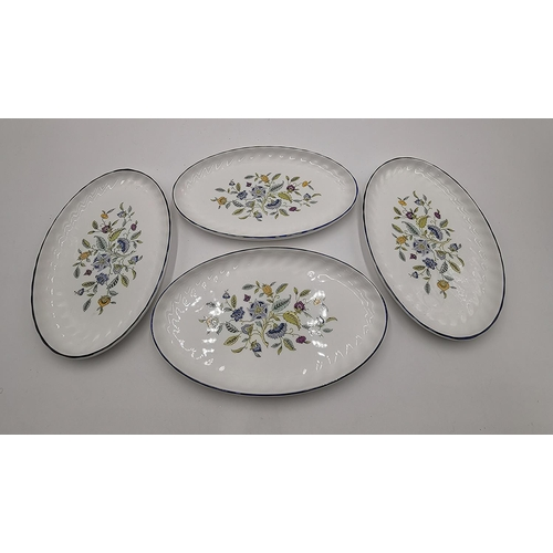684 - MINTON CHINA OVAL TRAYS (4) IN THE HADDON HALL BLUE DESIGN (Marked As 2nds)...