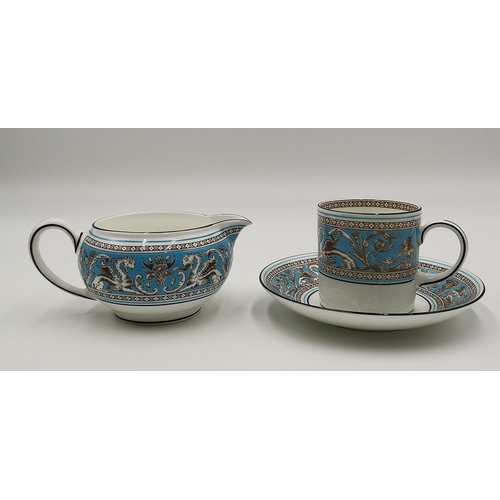 690 - WEDGWOOD CHINA COFFEE CUP, SAUCER And CREAM JUG IN THE FLORENTINE...
