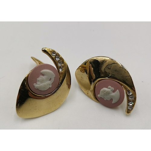 695 - CLIP ON EARRINGS With JASPER CAMEOS...